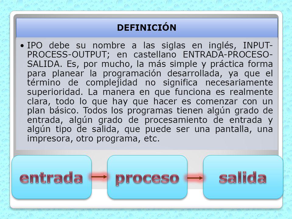 DEFINICIÓN IPO debe su nombre a las siglas en inglés, INPUT- PROCESS-OUTPUT; en castellano ENTRADA-PROCESO- SALIDA. Es, por mucho, la más simple y prá