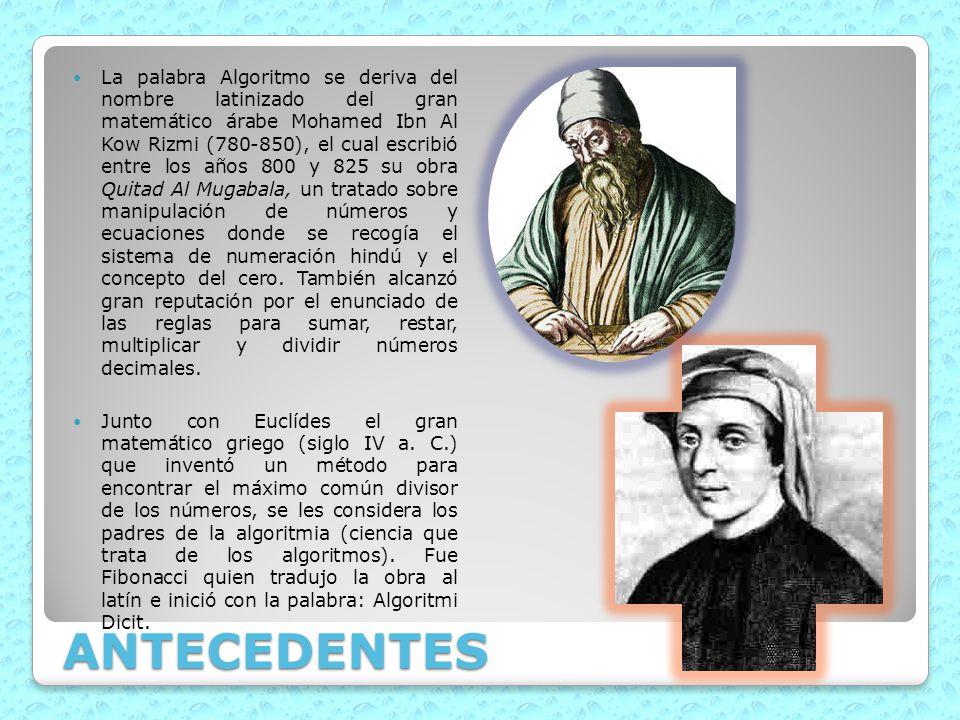 ANTECEDENTES La palabra Algoritmo se deriva del nombre latinizado del gran matemático árabe Mohamed Ibn Al Kow Rizmi (780-850), el cual escribió entre