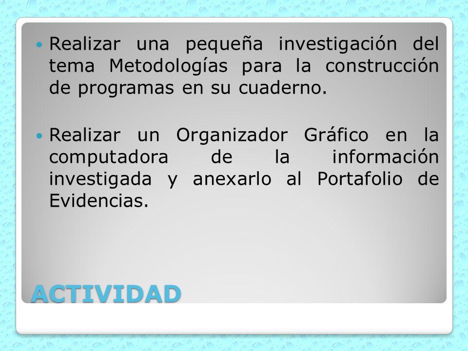 ACTIVIDAD Realizar una pequeña investigación del tema Metodologías para la construcción de programas en su cuaderno. Realizar un Organizador Gráfico e