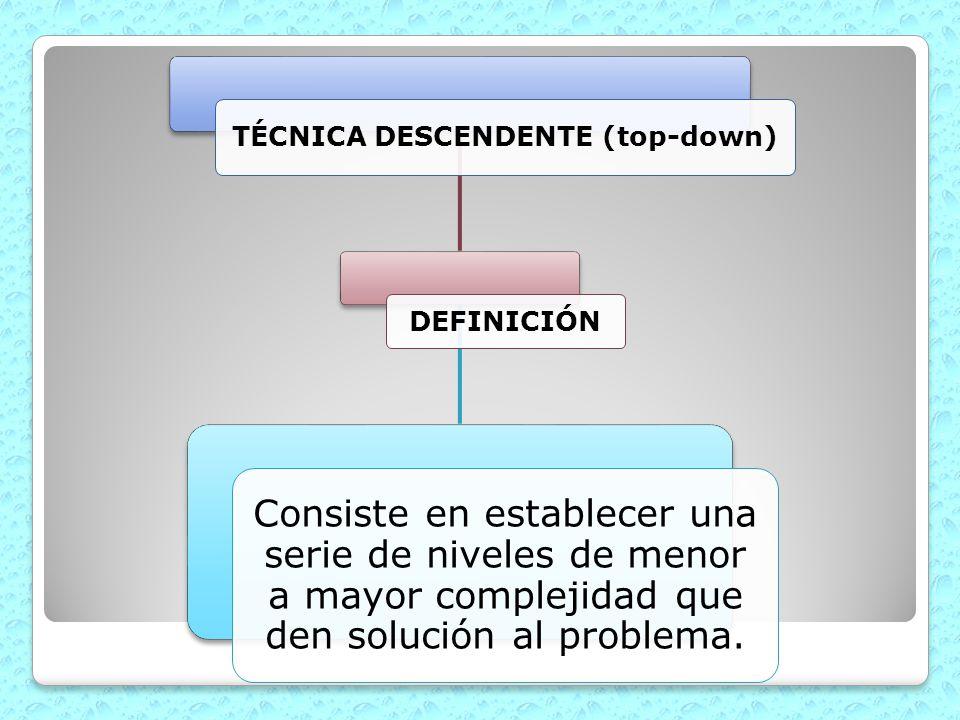 TÉCNICA DESCENDENTE (top-down) DEFINICIÓN Consiste en establecer una serie de niveles de menor a mayor complejidad que den solución al problema.