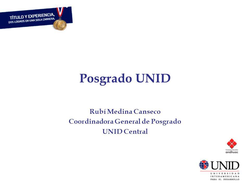 Posgrado UNID Rubí Medina Canseco Coordinadora General de Posgrado UNID Central