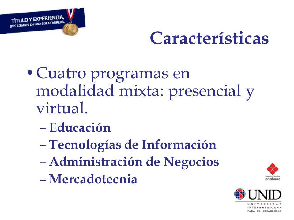 Características Cuatro programas en modalidad mixta: presencial y virtual.