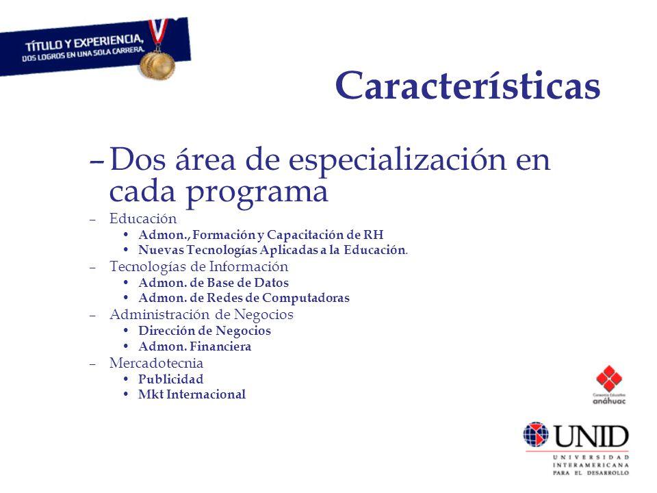 Características –Dos área de especialización en cada programa –Educación Admon., Formación y Capacitación de RH Nuevas Tecnologías Aplicadas a la Educación.