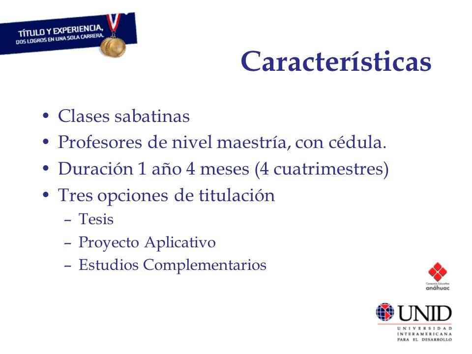 Características Clases sabatinas Profesores de nivel maestría, con cédula.