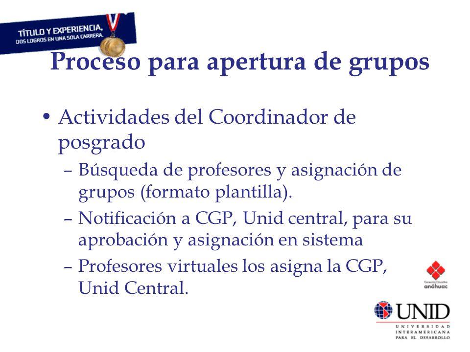 Proceso para apertura de grupos Actividades del Coordinador de posgrado –Búsqueda de profesores y asignación de grupos (formato plantilla).