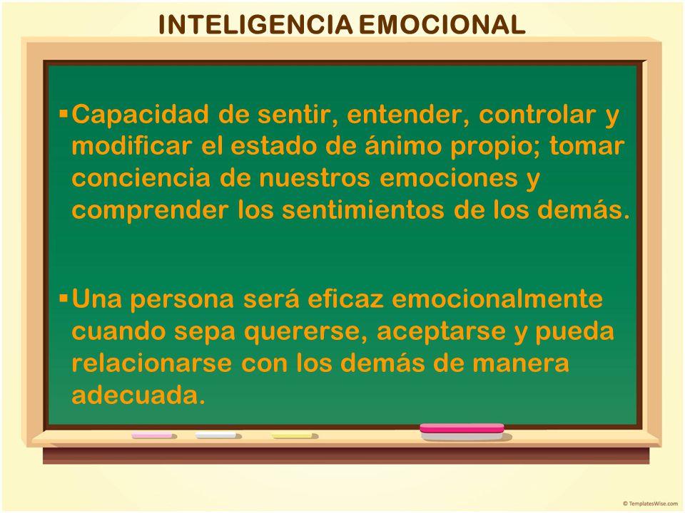 INTELIGENCIA EMOCIONAL Capacidad de sentir, entender, controlar y modificar el estado de ánimo propio; tomar conciencia de nuestros emociones y compre