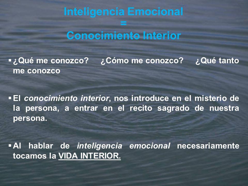 Inteligencia Emocional = Conocimiento Interior ¿Qué me conozco? ¿Cómo me conozco? ¿Qué tanto me conozco El conocimiento interior, nos introduce en el