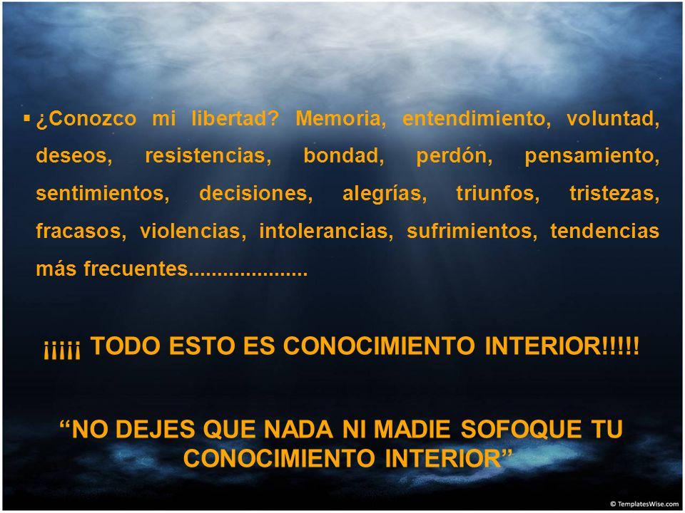 ¿Conozco mi libertad? Memoria, entendimiento, voluntad, deseos, resistencias, bondad, perdón, pensamiento, sentimientos, decisiones, alegrías, triunfo
