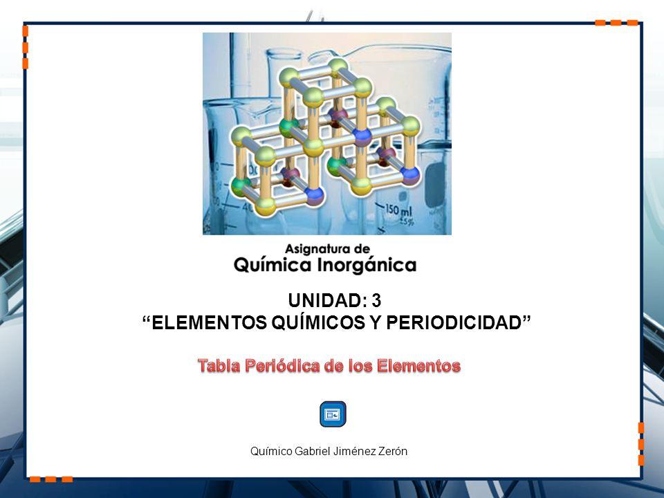 UNIDAD: 3 ELEMENTOS QUÍMICOS Y PERIODICIDAD Químico Gabriel Jiménez Zerón