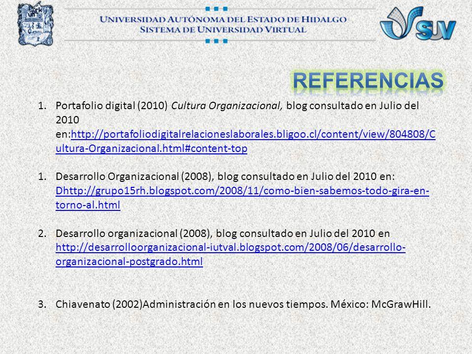 1.Portafolio digital (2010) Cultura Organizacional, blog consultado en Julio del 2010 en:http://portafoliodigitalrelacioneslaborales.bligoo.cl/content/view/804808/C ultura-Organizacional.html#content-tophttp://portafoliodigitalrelacioneslaborales.bligoo.cl/content/view/804808/C ultura-Organizacional.html#content-top 1.Desarrollo Organizacional (2008), blog consultado en Julio del 2010 en: Dhttp://grupo15rh.blogspot.com/2008/11/como-bien-sabemos-todo-gira-en- torno-al.html Dhttp://grupo15rh.blogspot.com/2008/11/como-bien-sabemos-todo-gira-en- torno-al.html 2.Desarrollo organizacional (2008), blog consultado en Julio del 2010 en http://desarrolloorganizacional-iutval.blogspot.com/2008/06/desarrollo- organizacional-postgrado.html http://desarrolloorganizacional-iutval.blogspot.com/2008/06/desarrollo- organizacional-postgrado.html 3.Chiavenato (2002)Administración en los nuevos tiempos.