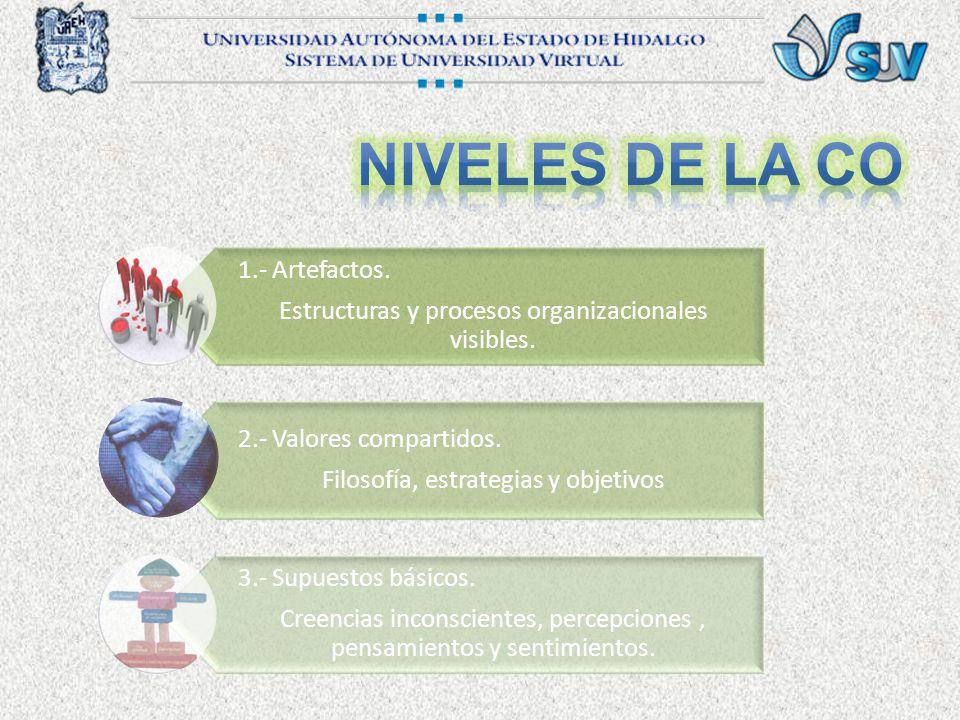 1.- Artefactos.Estructuras y procesos organizacionales visibles.