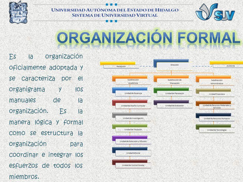 Es la organización oficialmente adoptada y se caracteriza por el organigrama y los manuales de la organización.