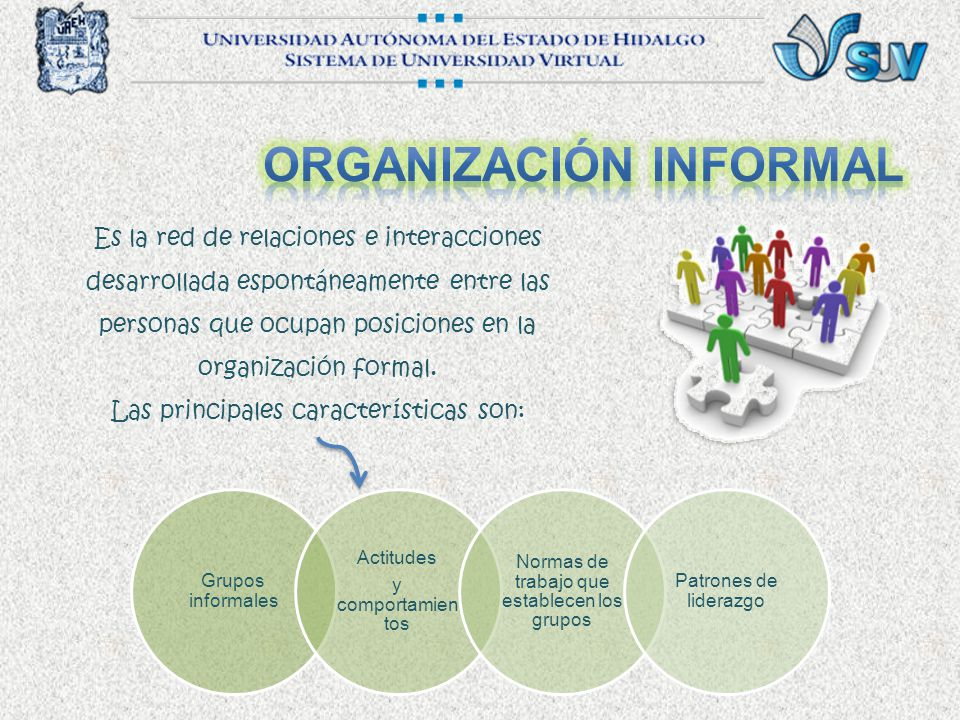 Es la red de relaciones e interacciones desarrollada espontáneamente entre las personas que ocupan posiciones en la organización formal.