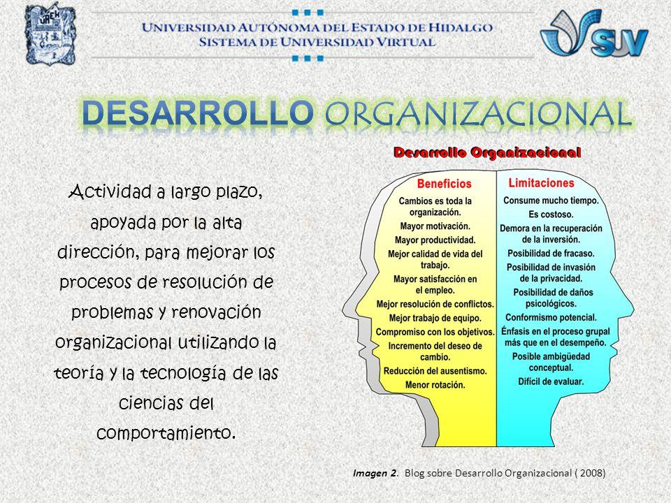 Actividad a largo plazo, apoyada por la alta dirección, para mejorar los procesos de resolución de problemas y renovación organizacional utilizando la teoría y la tecnología de las ciencias del comportamiento.