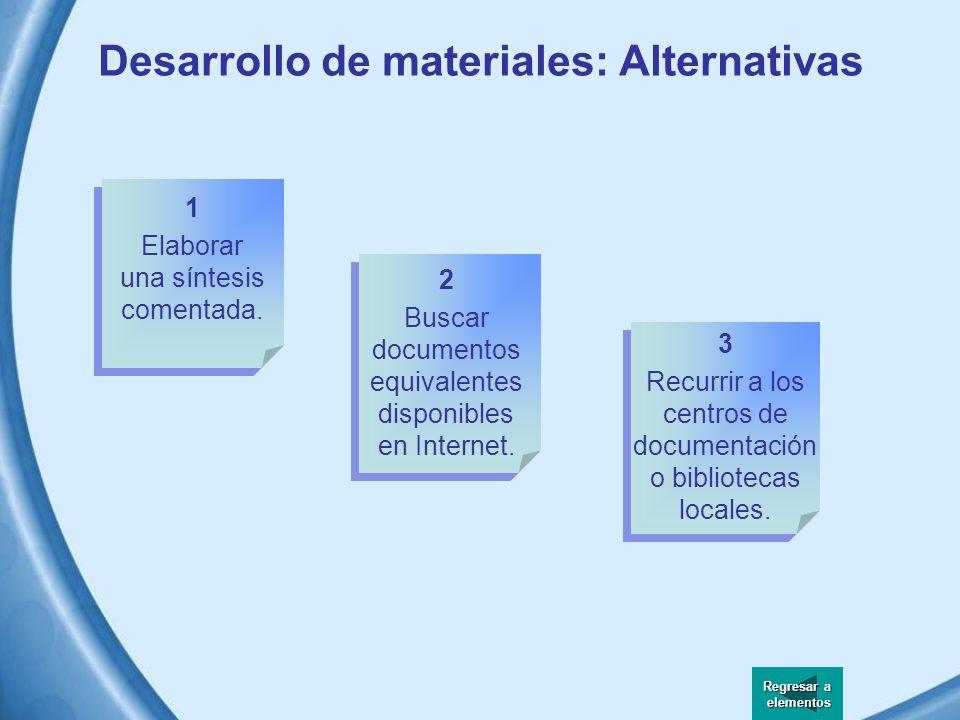 Desarrollo de materiales Al manejar los materiales a estudiar o analizar en un curso a distancia tenemos dos opciones: Crearlos o utilizar materiales ya disponibles.