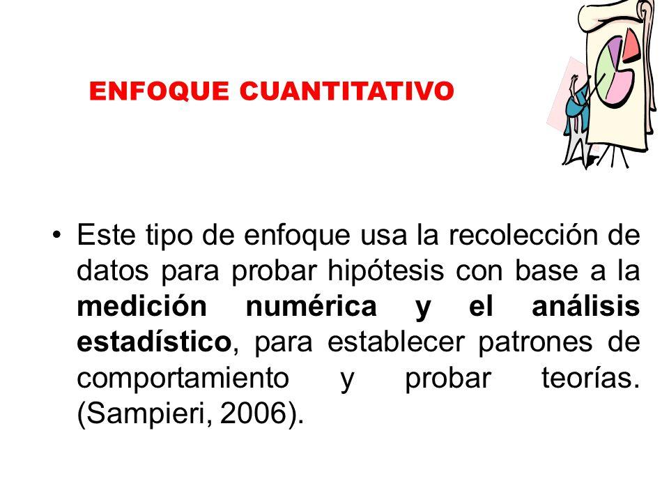 ENFOQUE CUANTITATIVO Este tipo de enfoque usa la recolección de datos para probar hipótesis con base a la medición numérica y el análisis estadístico, para establecer patrones de comportamiento y probar teorías.