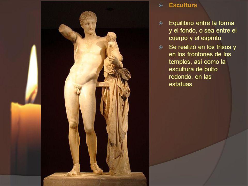 Escultura Equilibrio entre la forma y el fondo, o sea entre el cuerpo y el espíritu. Se realizó en los frisos y en los frontones de los templos, así c