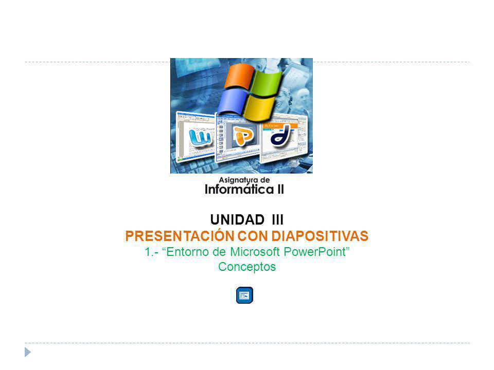 UNIDAD III PRESENTACIÓN CON DIAPOSITIVAS 1.- Entorno de Microsoft PowerPoint Conceptos