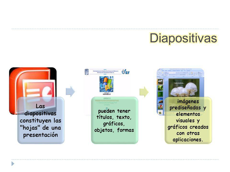 Las diapositivas constituyen las