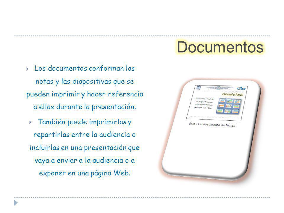 Los documentos conforman las notas y las diapositivas que se pueden imprimir y hacer referencia a ellas durante la presentación. También puede imprimi