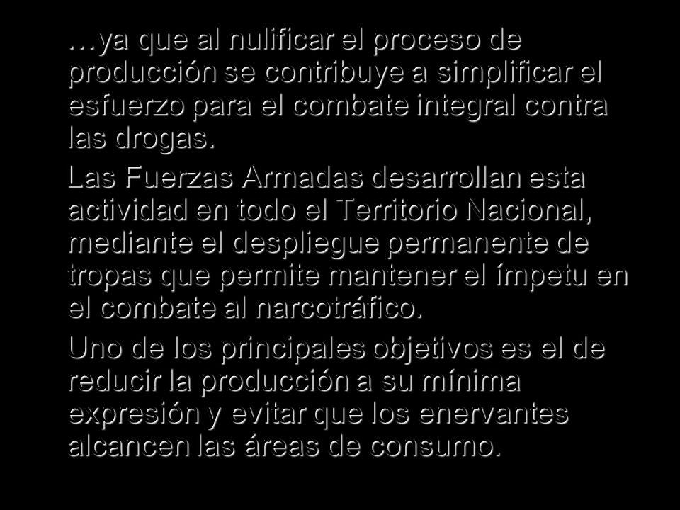 …ya que al nulificar el proceso de producción se contribuye a simplificar el esfuerzo para el combate integral contra las drogas. …ya que al nulificar