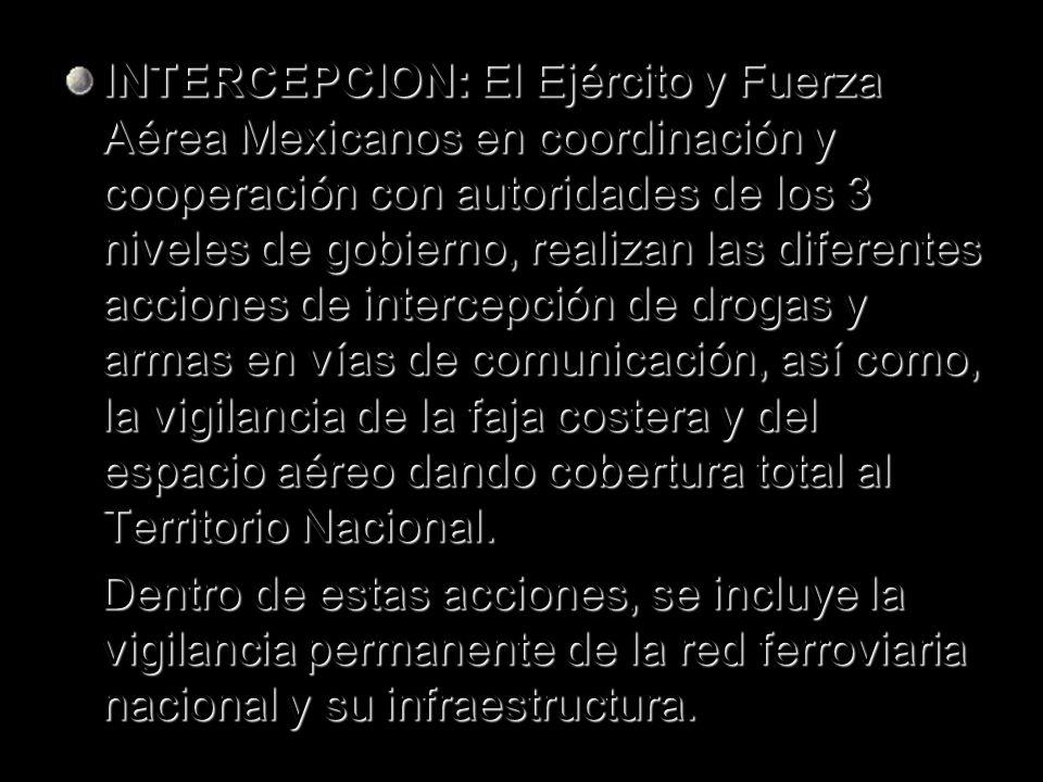INTERCEPCION: El Ejército y Fuerza Aérea Mexicanos en coordinación y cooperación con autoridades de los 3 niveles de gobierno, realizan las diferentes