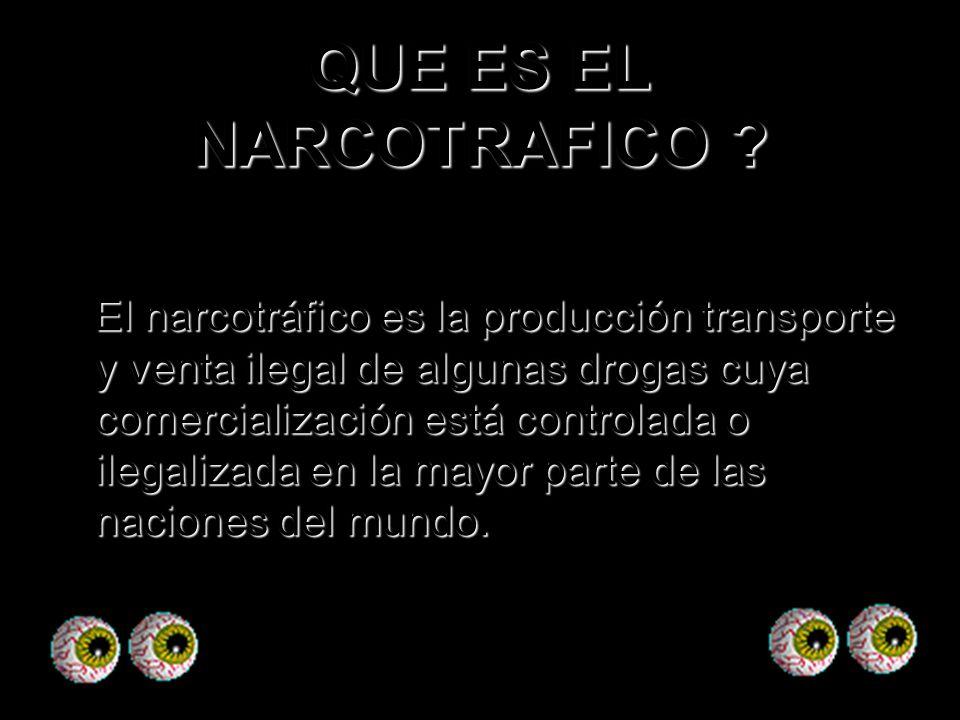 QUE ES EL NARCOTRAFICO ? El narcotráfico es la producción transporte y venta ilegal de algunas drogas cuya comercialización está controlada o ilegaliz