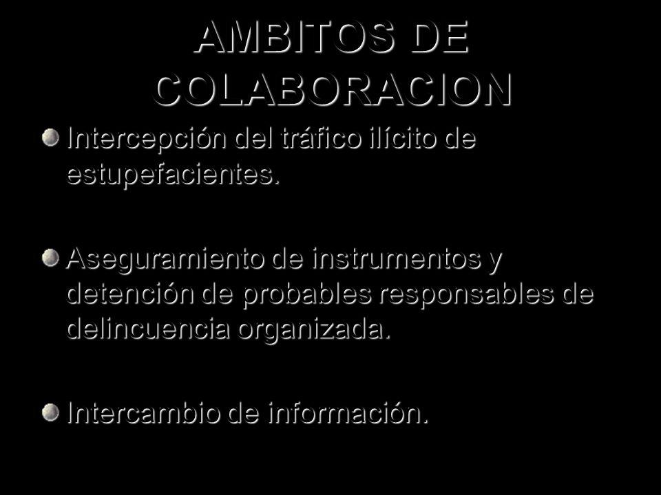 AMBITOS DE COLABORACION Intercepción del tráfico ilícito de estupefacientes. Aseguramiento de instrumentos y detención de probables responsables de de