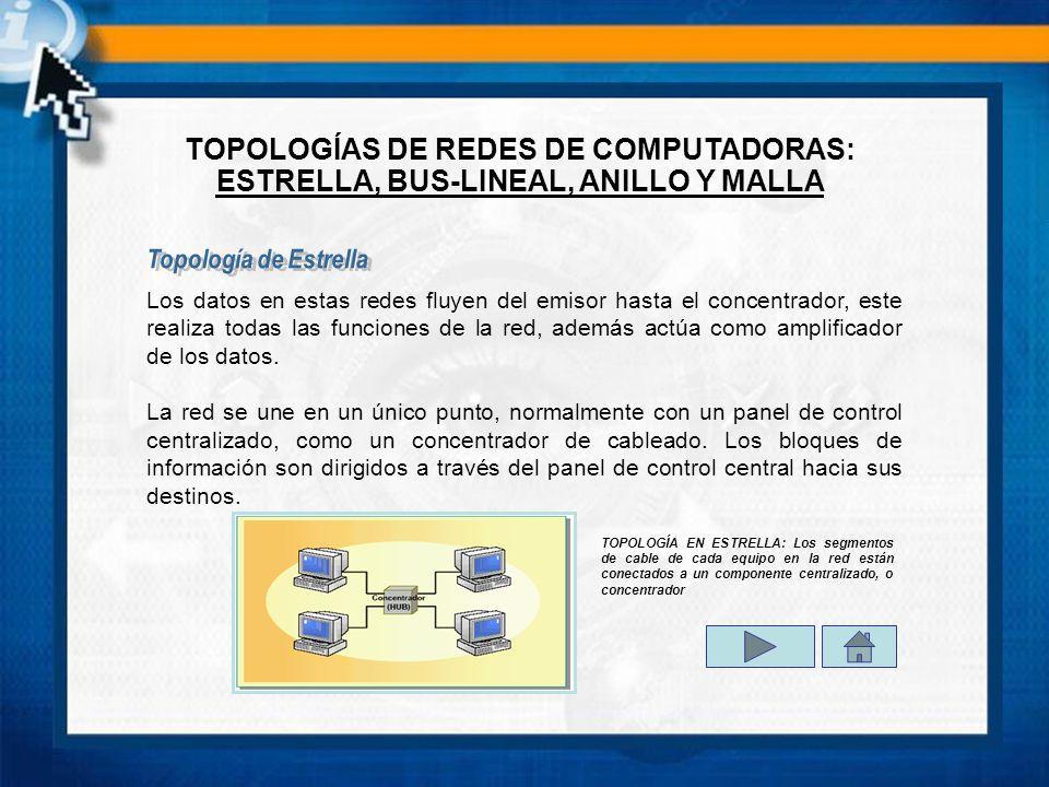 Los datos en estas redes fluyen del emisor hasta el concentrador, este realiza todas las funciones de la red, además actúa como amplificador de los datos.