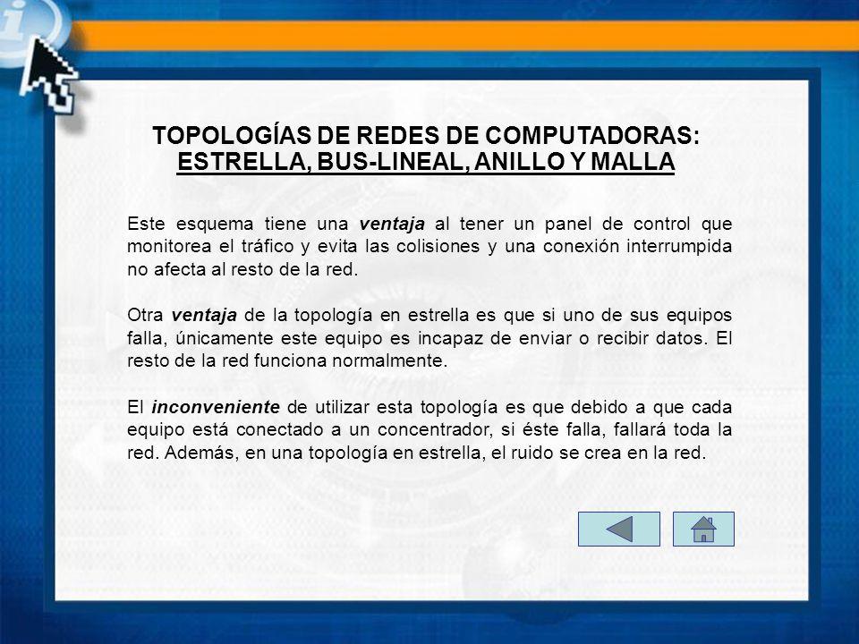 TOPOLOGÍAS DE REDES DE COMPUTADORAS: ESTRELLA, BUS-LINEAL, ANILLO Y MALLA Este esquema tiene una ventaja al tener un panel de control que monitorea el