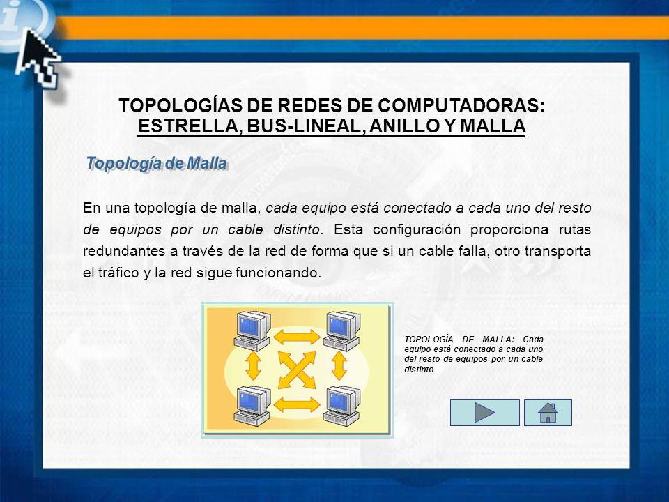 TOPOLOGÍAS DE REDES DE COMPUTADORAS: ESTRELLA, BUS-LINEAL, ANILLO Y MALLA En una topología de malla, cada equipo está conectado a cada uno del resto de equipos por un cable distinto.