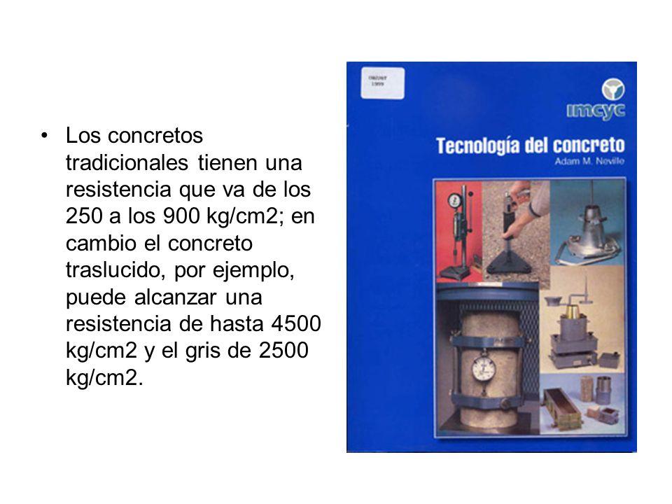 Los concretos tradicionales tienen una resistencia que va de los 250 a los 900 kg/cm2; en cambio el concreto traslucido, por ejemplo, puede alcanzar u