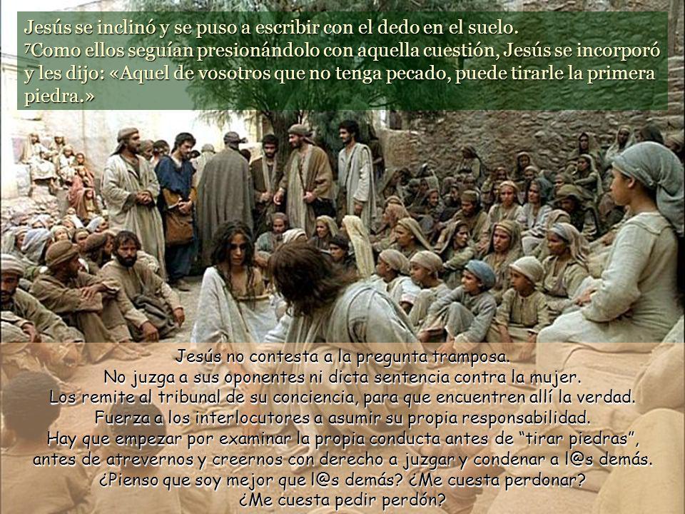 Jesús se inclinó y se puso a escribir con el dedo en el suelo.