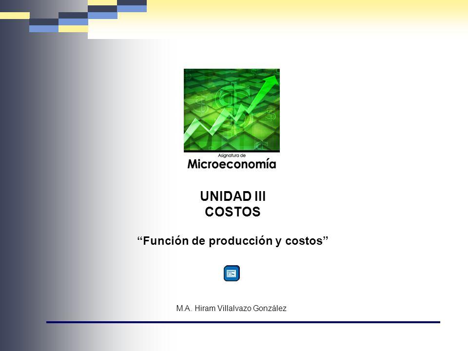 M.A. Hiram Villalvazo González UNIDAD III COSTOS Función de producción y costos
