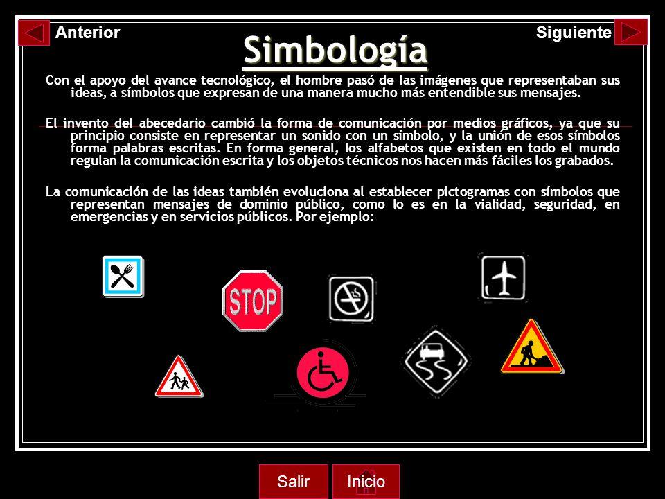 Simbología Con el apoyo del avance tecnológico, el hombre pasó de las imágenes que representaban sus ideas, a símbolos que expresan de una manera mucho más entendible sus mensajes.