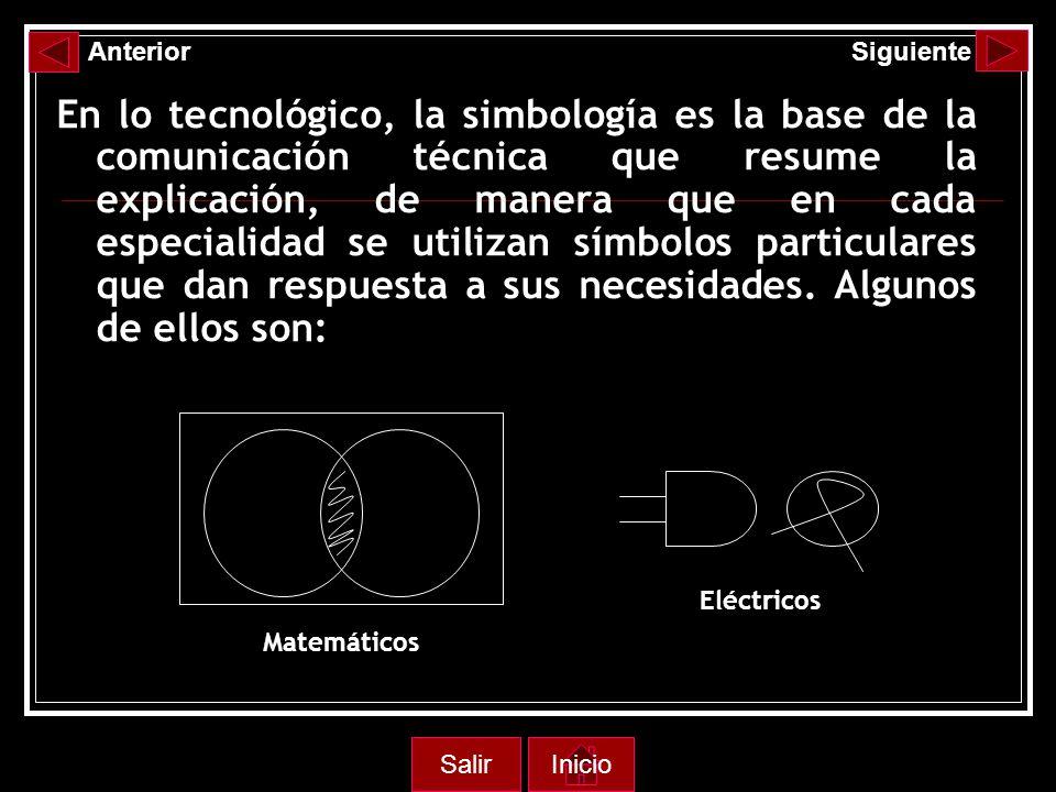 En lo tecnológico, la simbología es la base de la comunicación técnica que resume la explicación, de manera que en cada especialidad se utilizan símbolos particulares que dan respuesta a sus necesidades.