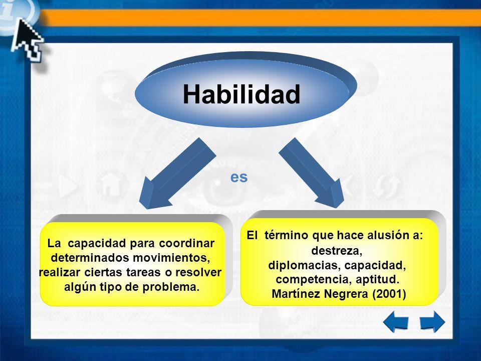 es La capacidad para coordinar determinados movimientos, realizar ciertas tareas o resolver algún tipo de problema. El término que hace alusión a: des