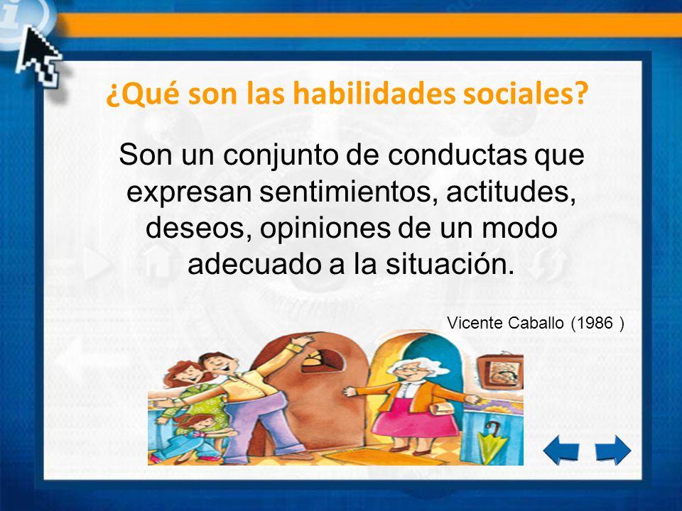 ¿Qué son las habilidades sociales? Son un conjunto de conductas que expresan sentimientos, actitudes, deseos, opiniones de un modo adecuado a la situa