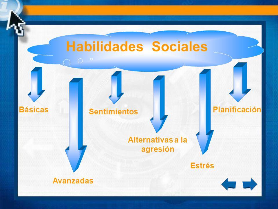Básicas Habilidades Sociales Avanzadas Alternativas a la agresión Sentimientos Planificación Estrés