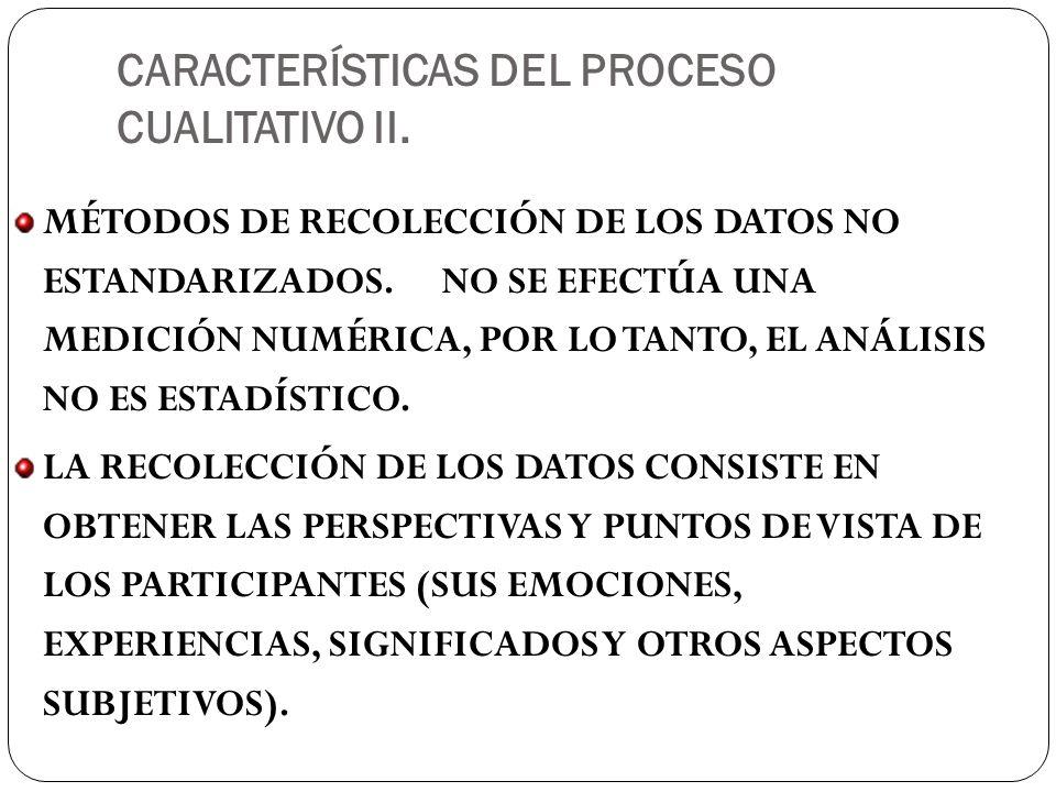 CARACTERÍSTICAS DEL PROCESO CUALITATIVO II.MÉTODOS DE RECOLECCIÓN DE LOS DATOS NO ESTANDARIZADOS.