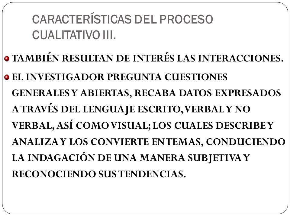 CARACTERÍSTICAS DEL PROCESO CUALITATIVO III.TAMBIÉN RESULTAN DE INTERÉS LAS INTERACCIONES.