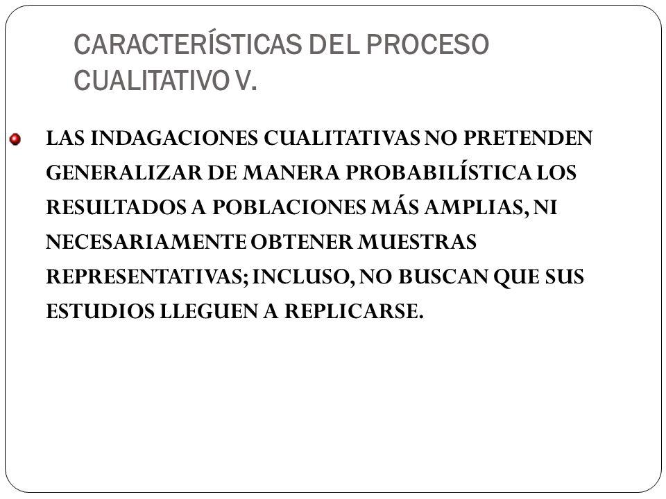 CARACTERÍSTICAS DEL PROCESO CUALITATIVO V.