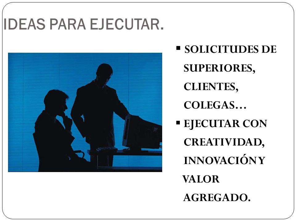 SOLICITUDES DE SUPERIORES, CLIENTES, COLEGAS… EJECUTAR CON CREATIVIDAD, INNOVACIÓN Y VALOR AGREGADO.