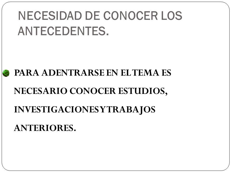 PARA ADENTRARSE EN EL TEMA ES NECESARIO CONOCER ESTUDIOS, INVESTIGACIONES Y TRABAJOS ANTERIORES.