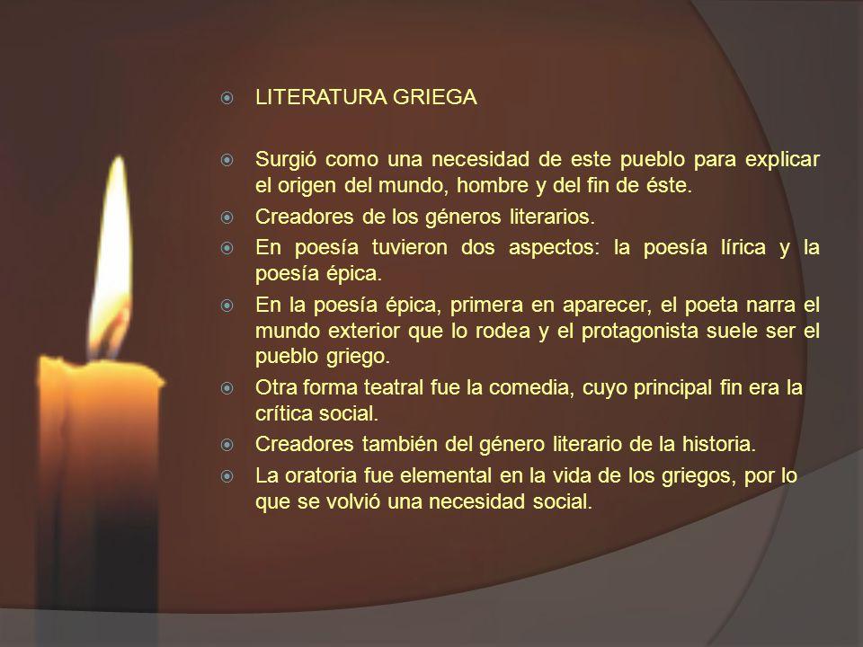 LITERATURA GRIEGA Surgió como una necesidad de este pueblo para explicar el origen del mundo, hombre y del fin de éste.