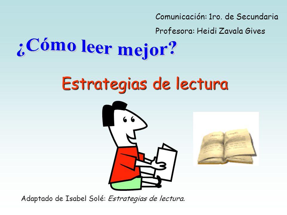 Estrategias de lectura Comunicación: 1ro.