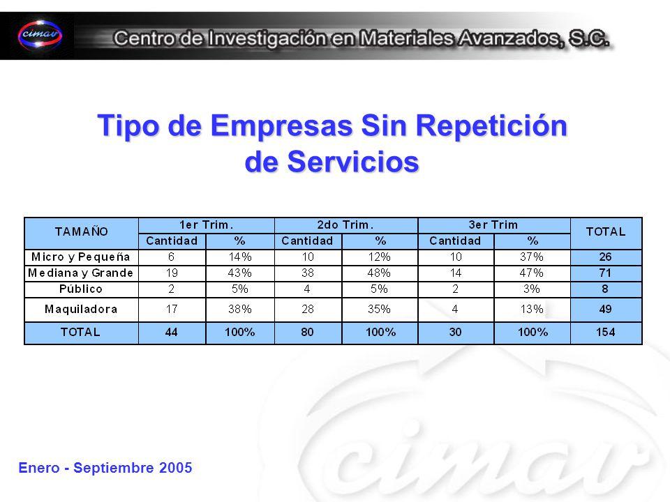 Tipo de Empresas Sin Repetición de Servicios Enero - Septiembre 2005