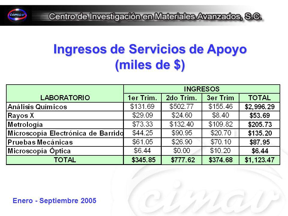 Ingresos de Servicios de Apoyo (miles de $) Enero - Septiembre 2005