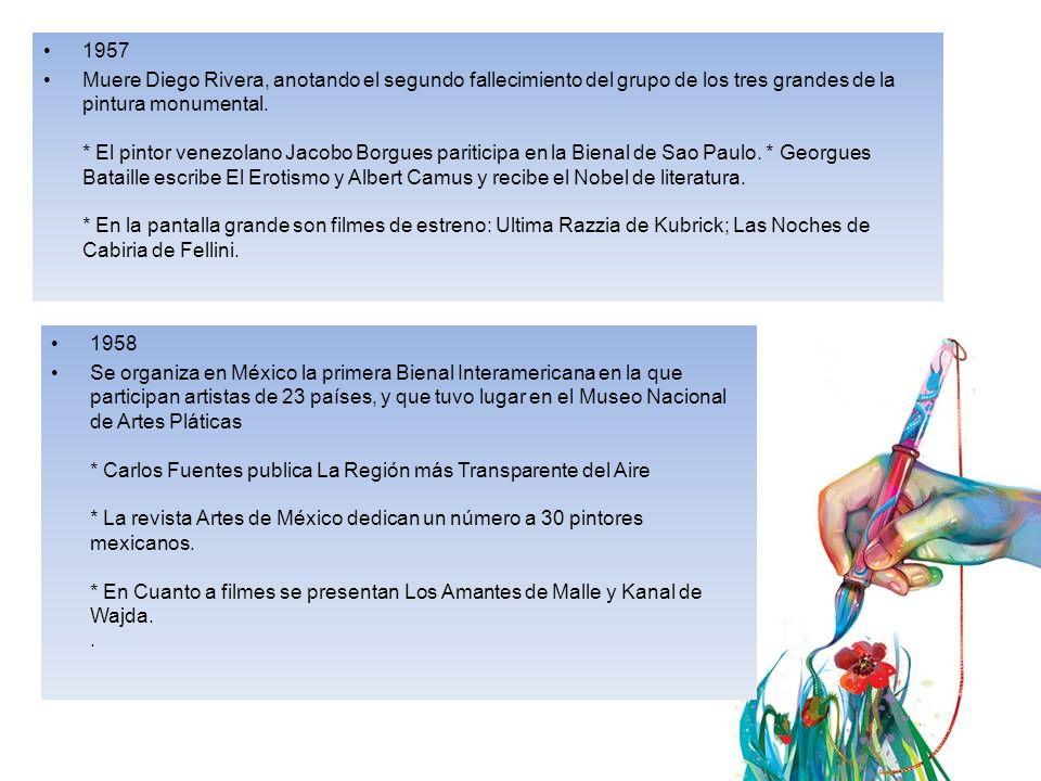 1957 Muere Diego Rivera, anotando el segundo fallecimiento del grupo de los tres grandes de la pintura monumental.