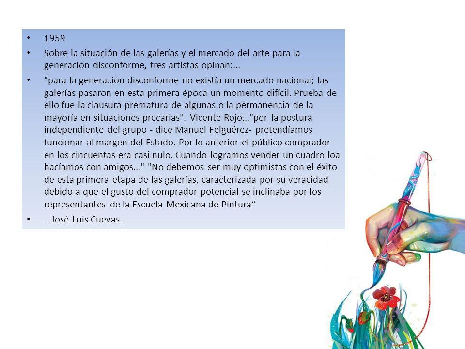 1959 Sobre la situación de las galerías y el mercado del arte para la generación disconforme, tres artistas opinan:...
